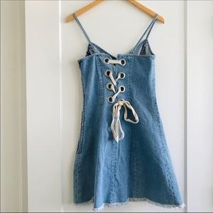Topshop Boutique Denim Lace Back Slip Dress SZ 4